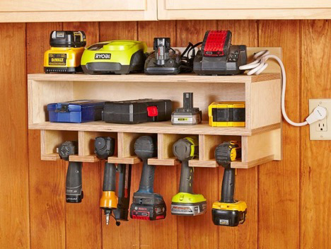 tool shelf in outdoor shed